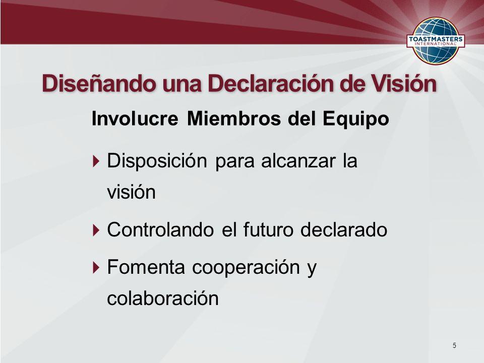 Disposición para alcanzar la visión Controlando el futuro declarado Fomenta cooperación y colaboración 5 Diseñando una Declaración de Visión Involucre
