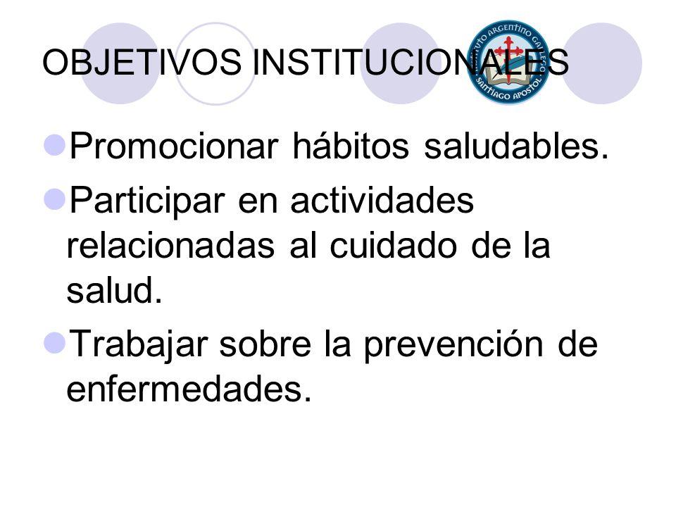 OBJETIVOS INSTITUCIONALES Promocionar hábitos saludables. Participar en actividades relacionadas al cuidado de la salud. Trabajar sobre la prevención