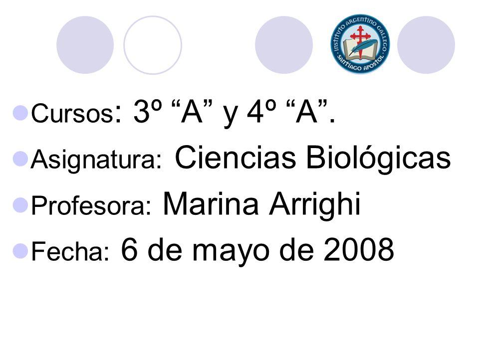 Cursos : 3º A y 4º A. Asignatura: Ciencias Biológicas Profesora: Marina Arrighi Fecha: 6 de mayo de 2008