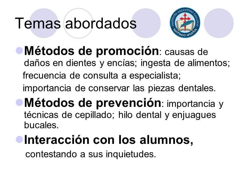 Temas abordados Métodos de promoción : causas de daños en dientes y encías; ingesta de alimentos; frecuencia de consulta a especialista; importancia d