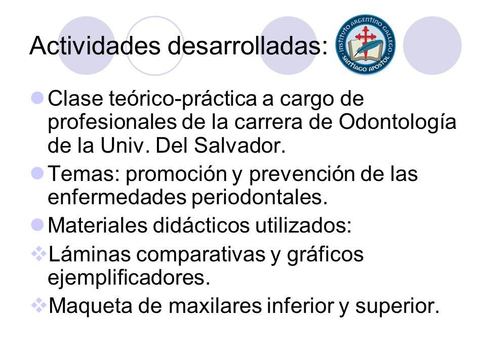 Actividades desarrolladas: Clase teórico-práctica a cargo de profesionales de la carrera de Odontología de la Univ. Del Salvador. Temas: promoción y p