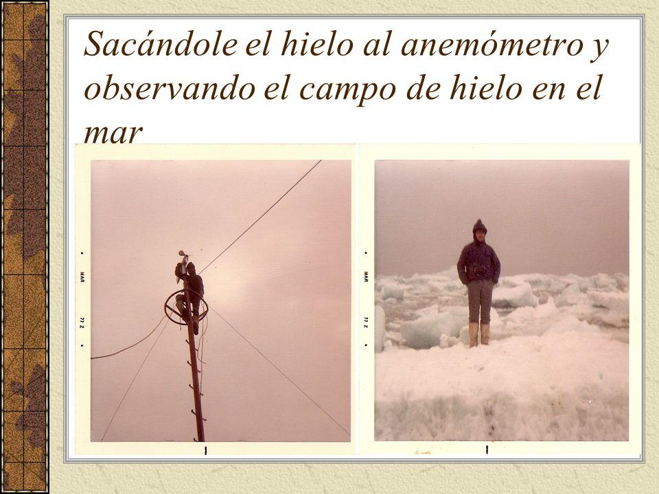 Sacándole el hielo al anemómetro y observando el campo de hielo en el mar