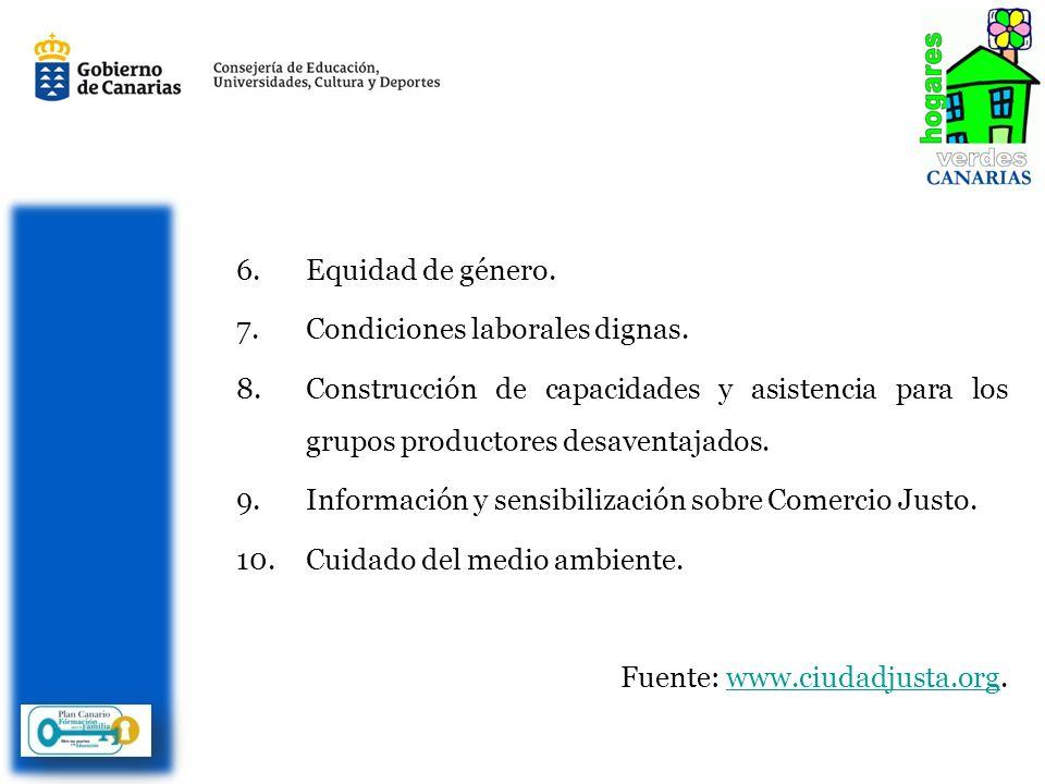 6.Equidad de género. 7.Condiciones laborales dignas.