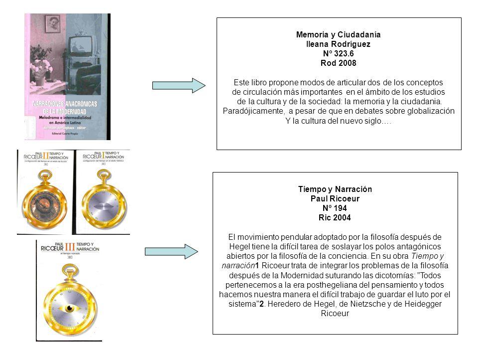 Memoria y Ciudadanía Ileana Rodríguez Nº 323.6 Rod 2008 Este libro propone modos de articular dos de los conceptos de circulación más importantes en e