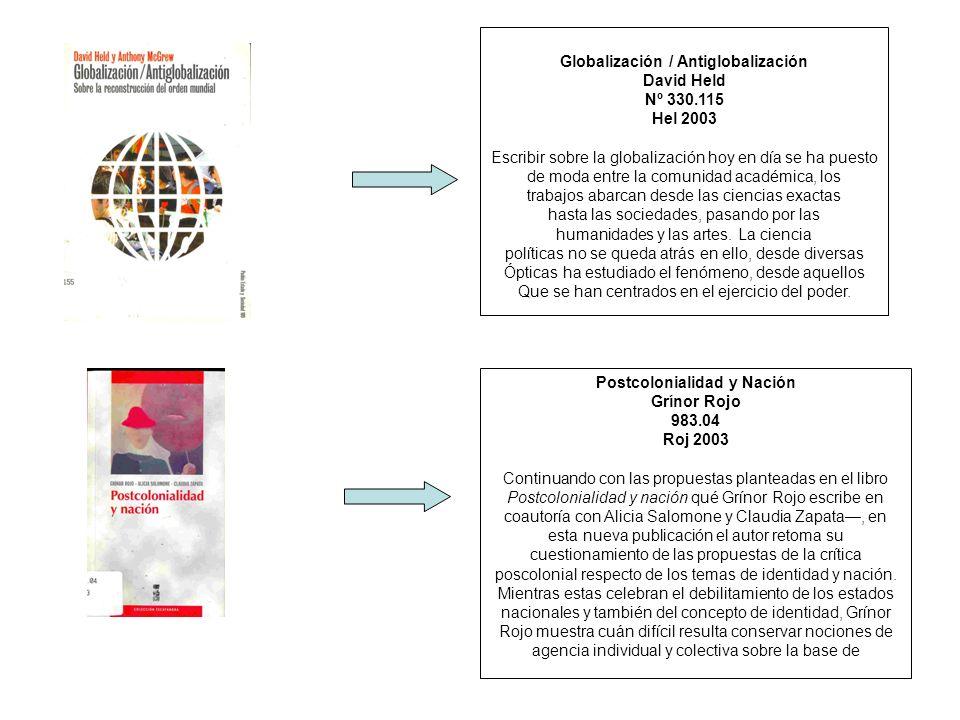 Globalización / Antiglobalización David Held Nº 330.115 Hel 2003 Escribir sobre la globalización hoy en día se ha puesto de moda entre la comunidad ac