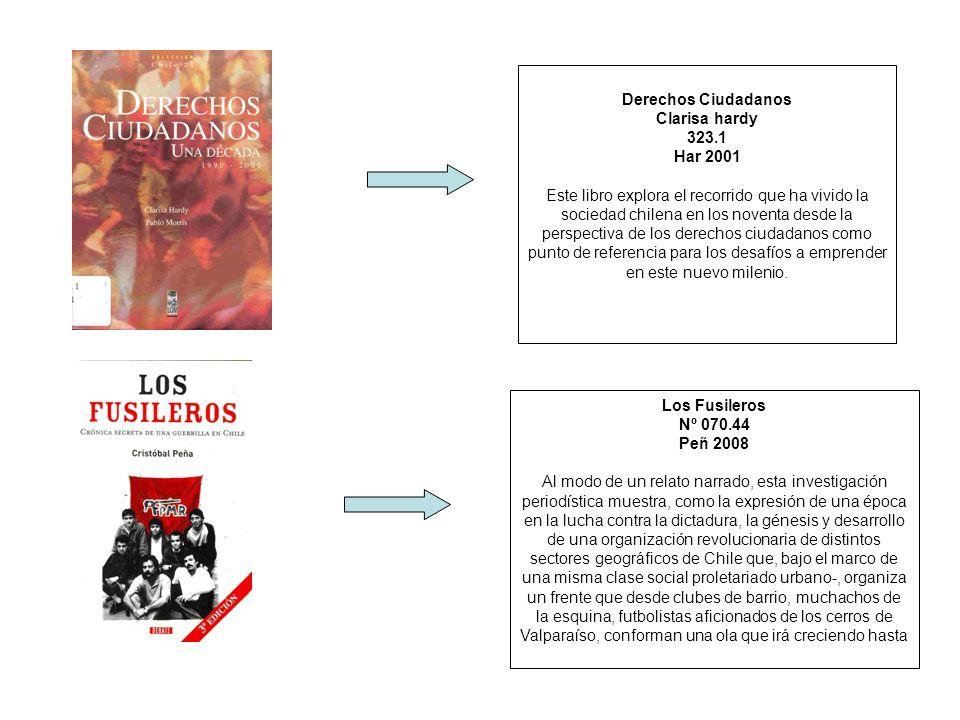 Derechos Ciudadanos Clarisa hardy 323.1 Har 2001 Este libro explora el recorrido que ha vivido la sociedad chilena en los noventa desde la perspectiva
