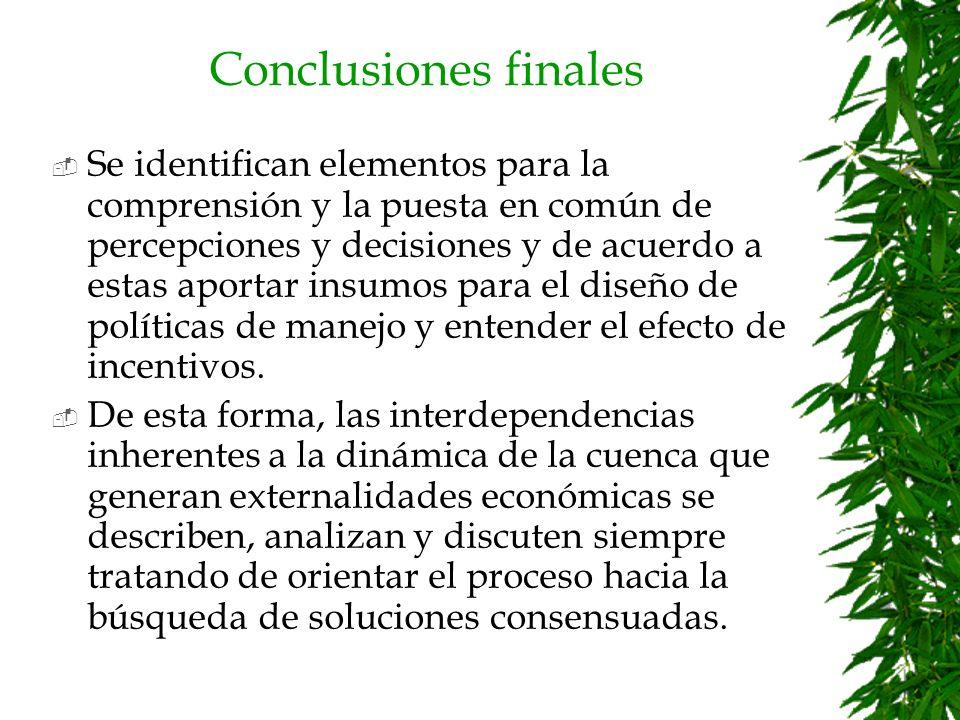 Conclusiones finales Esta metodología puede ser aplicada en diferentes microcuencas, lo que generaría datos comparativos que posibiliten el análisis y la gestión de cuencas en América Latina.
