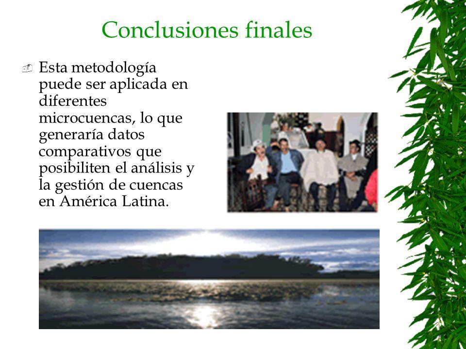 Conclusiones finales Concientización y fortalecimiento de programas de Educación Ambiental Transparencia y Eficiencia en la regulación Incentivos para conservación Autogestión para el manejo de los recursos naturales