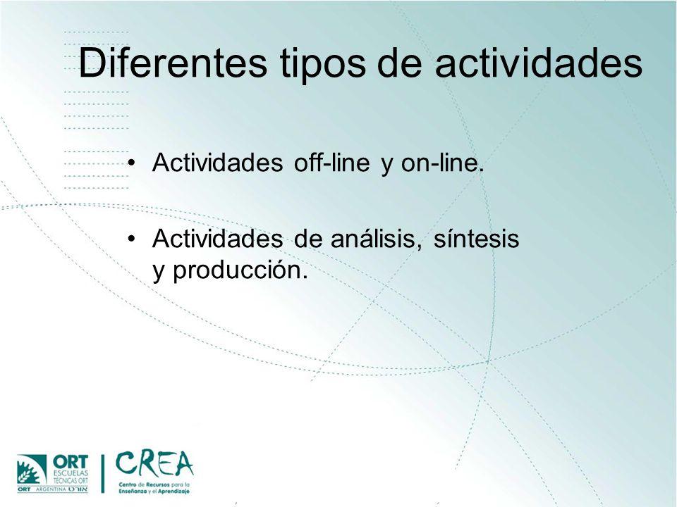 Diferentes tipos de actividades Actividades off-line y on-line. Actividades de análisis, síntesis y producción.