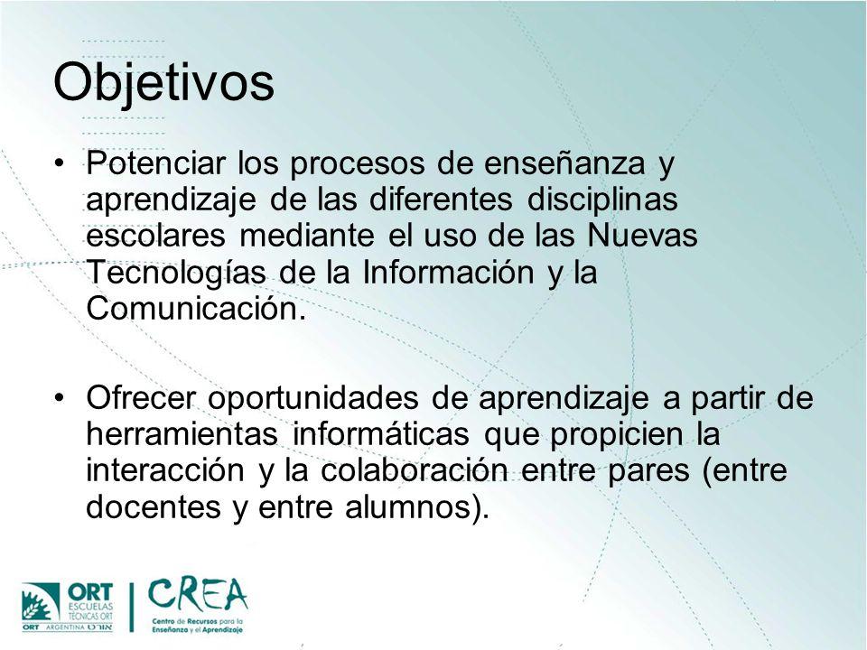 Objetivos Potenciar los procesos de enseñanza y aprendizaje de las diferentes disciplinas escolares mediante el uso de las Nuevas Tecnologías de la In