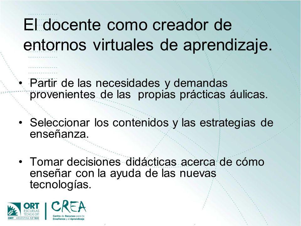 El docente como creador de entornos virtuales de aprendizaje. Partir de las necesidades y demandas provenientes de las propias prácticas áulicas. Sele