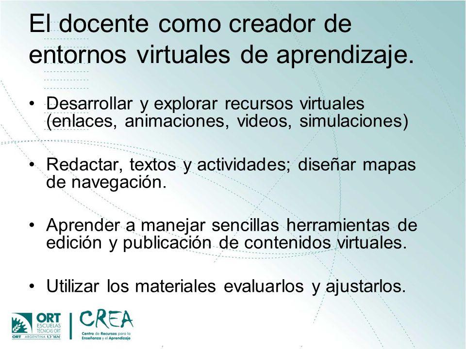 El docente como creador de entornos virtuales de aprendizaje. Desarrollar y explorar recursos virtuales (enlaces, animaciones, videos, simulaciones) R