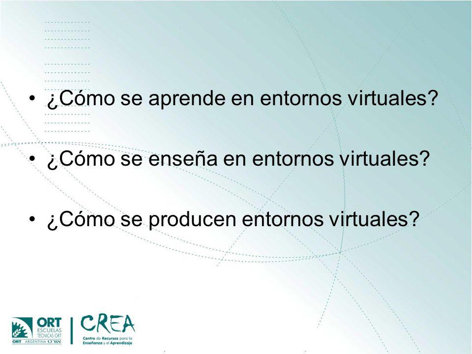 ¿Cómo se aprende en entornos virtuales? ¿Cómo se enseña en entornos virtuales? ¿Cómo se producen entornos virtuales?