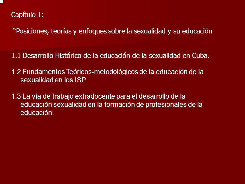 Capítulo 1: Posiciones, teorías y enfoques sobre la sexualidad y su educación 1.1 Desarrollo Histórico de la educación de la sexualidad en Cuba. 1.2 F