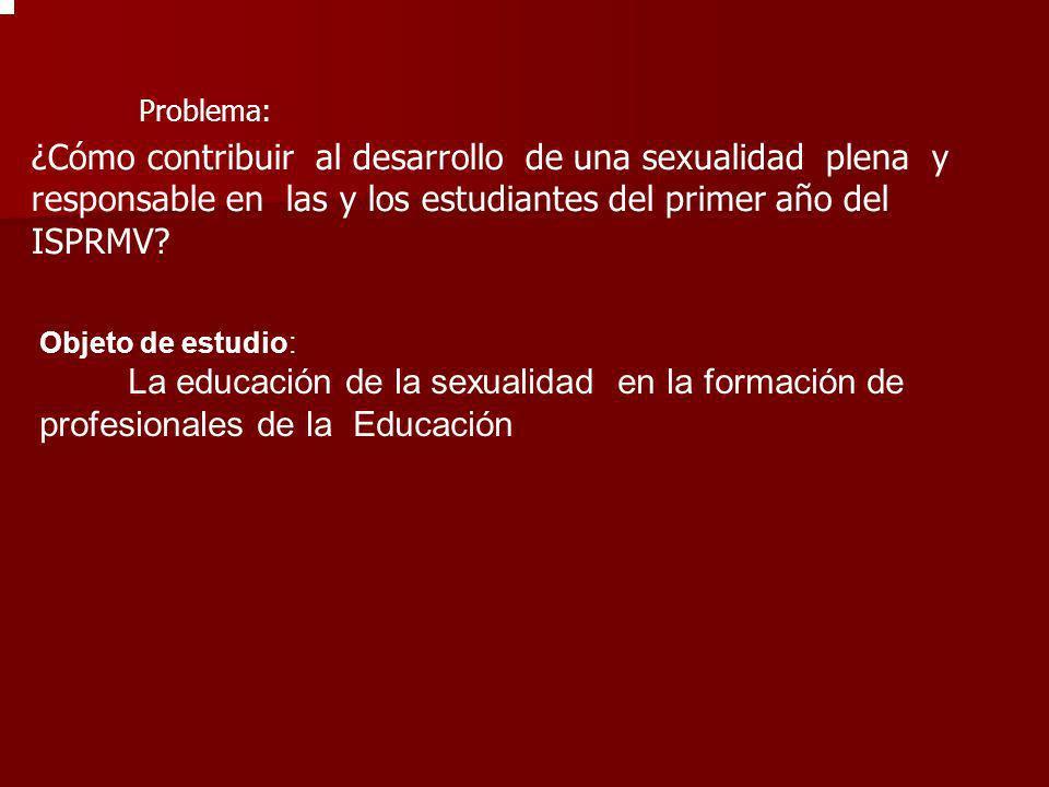¿Cómo contribuir al desarrollo de una sexualidad plena y responsable en las y los estudiantes del primer año del ISPRMV? Problema: Objeto de estudio: