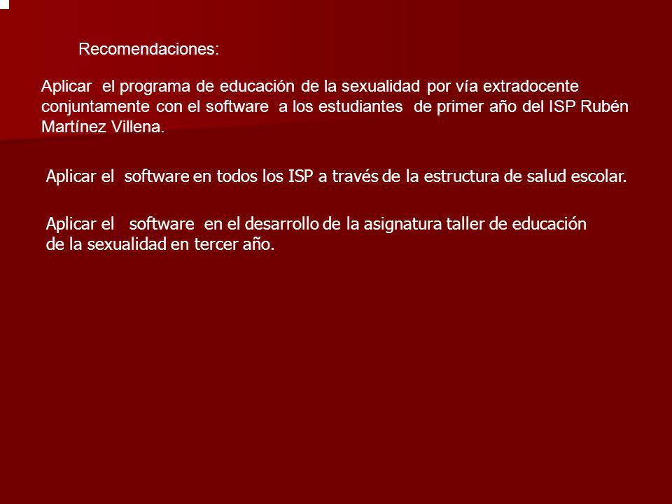 Recomendaciones: Aplicar el programa de educación de la sexualidad por vía extradocente conjuntamente con el software a los estudiantes de primer año
