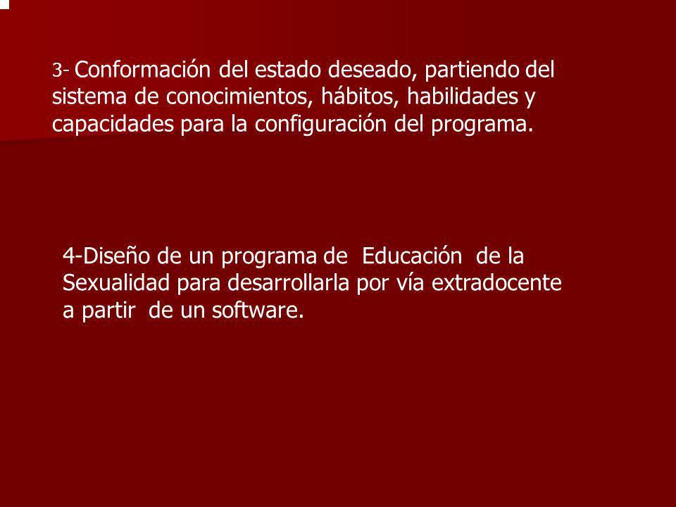 3- Conformación del estado deseado, partiendo del sistema de conocimientos, hábitos, habilidades y capacidades para la configuración del programa. 4-D