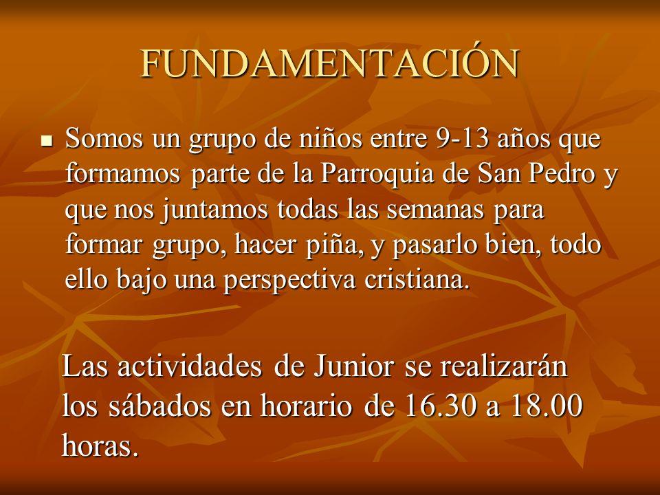 FUNDAMENTACIÓN Somos un grupo de niños entre 9-13 años que formamos parte de la Parroquia de San Pedro y que nos juntamos todas las semanas para forma