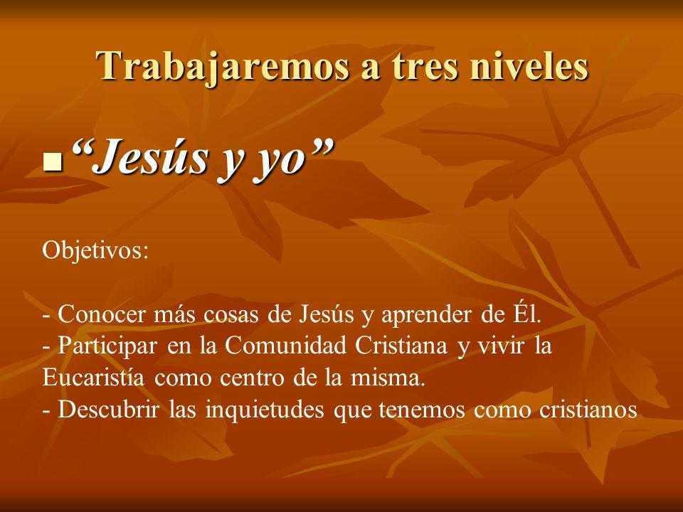 Trabajaremos a tres niveles Jesús y yo Jesús y yo Objetivos: - Conocer más cosas de Jesús y aprender de Él. - Participar en la Comunidad Cristiana y v