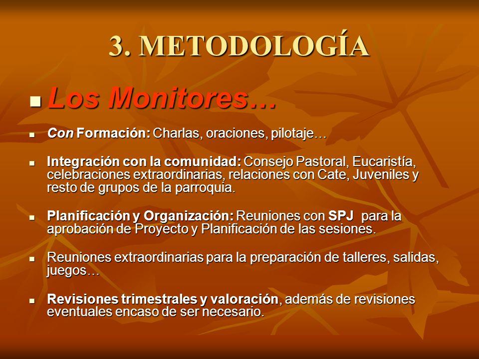 3. METODOLOGÍA Los Monitores… Los Monitores… Con Formación: Charlas, oraciones, pilotaje… Con Formación: Charlas, oraciones, pilotaje… Integración con