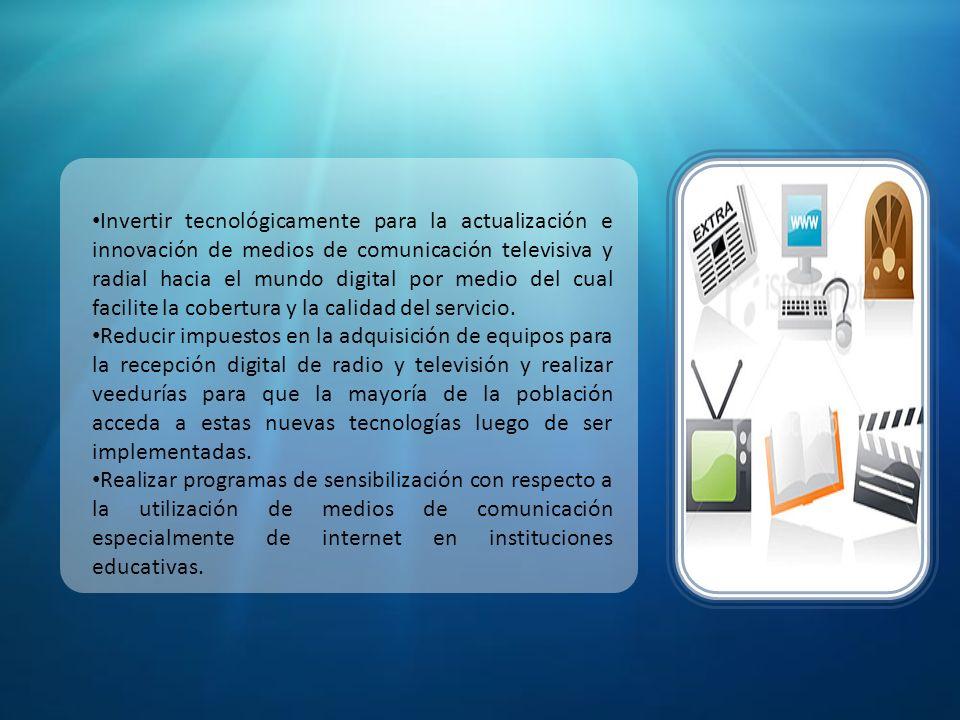 Fuente: (Agenda Nacional de Conectividad – CONATEL)