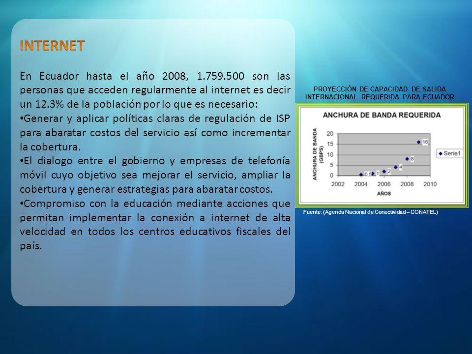 Fuente: ESTRATEGIA NACIONAL PARA LA SOCIEDAD DE LA INFORMACIÓN Y EL CONOCIMIENTO PLAN DE ACCION 2005-2010 (Agenda Nacional de Conectividad – CONATEL)