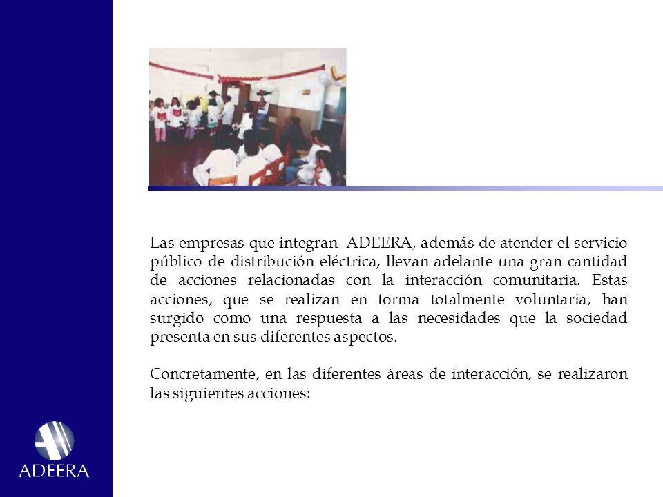 Las empresas que integran ADEERA, además de atender el servicio público de distribución eléctrica, llevan adelante una gran cantidad de acciones relacionadas con la interacción comunitaria.