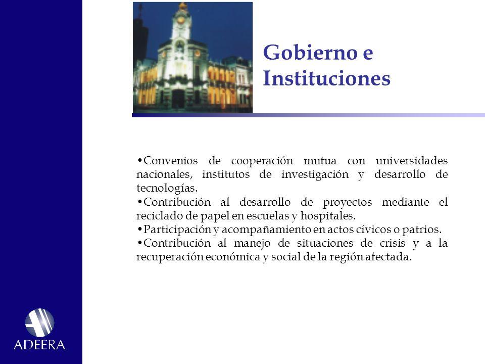 Gobierno e Instituciones Convenios de cooperación mutua con universidades nacionales, institutos de investigación y desarrollo de tecnologías.