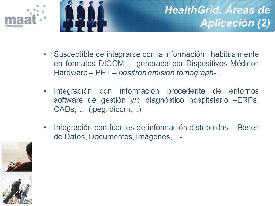 Susceptible de integrarse con la información –habitualmente en formatos DICOM - generada por Dispositivos Médicos Hardware – PET – positron emision to