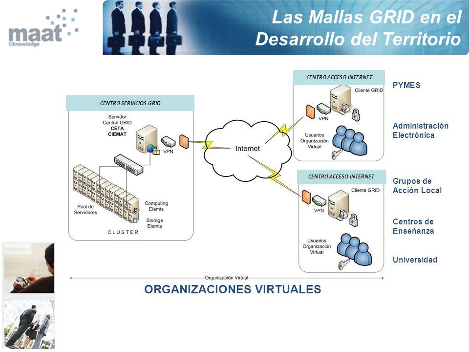 CENTRO ACCESO INTERNET CENTRO SERVICIOS GRID PYMES Administración Electrónica Grupos de Acción Local Centros de Enseñanza Universidad ORGANIZACIONES V
