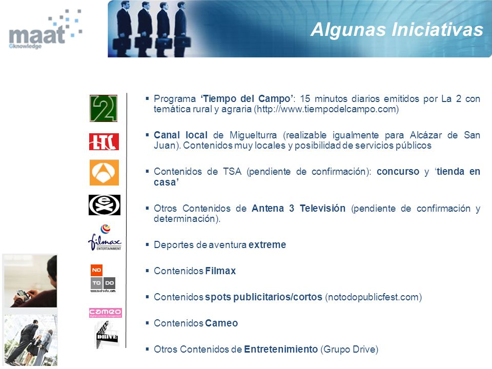 Programa Tiempo del Campo: 15 minutos diarios emitidos por La 2 con temática rural y agraria (http://www.tiempodelcampo.com) Canal local de Miguelturr