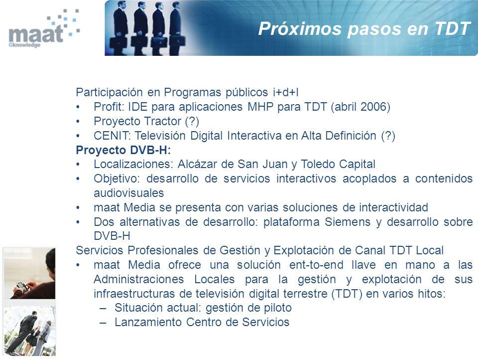 Participación en Programas públicos i+d+I Profit: IDE para aplicaciones MHP para TDT (abril 2006) Proyecto Tractor (?) CENIT: Televisión Digital Inter