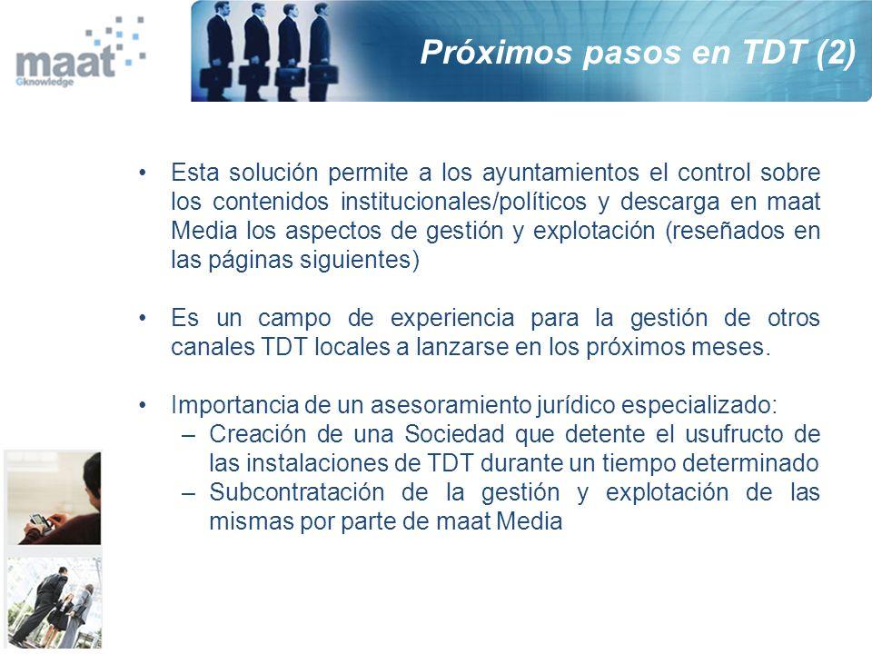 Esta solución permite a los ayuntamientos el control sobre los contenidos institucionales/políticos y descarga en maat Media los aspectos de gestión y