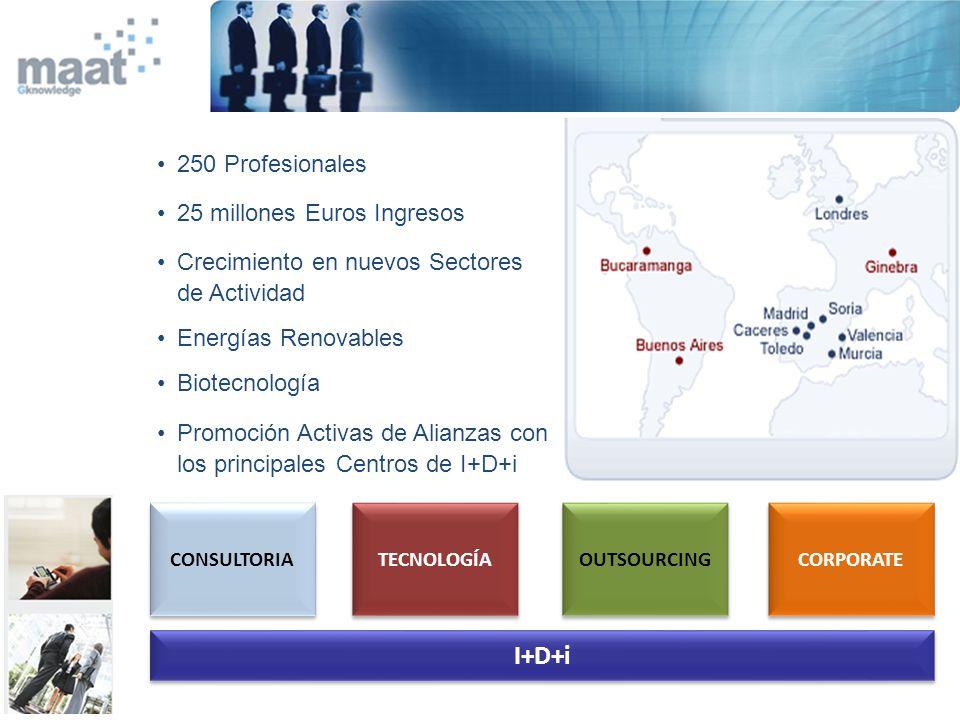 CONSULTORIA TECNOLOGÍA OUTSOURCING CORPORATE I+D+i 250 Profesionales 25 millones Euros Ingresos Crecimiento en nuevos Sectores de Actividad Energías R