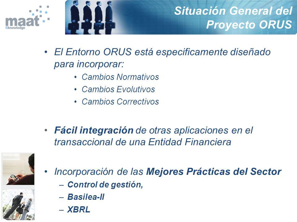 El Entorno ORUS está especificamente diseñado para incorporar: Cambios Normativos Cambios Evolutivos Cambios Correctivos Fácil integración de otras ap