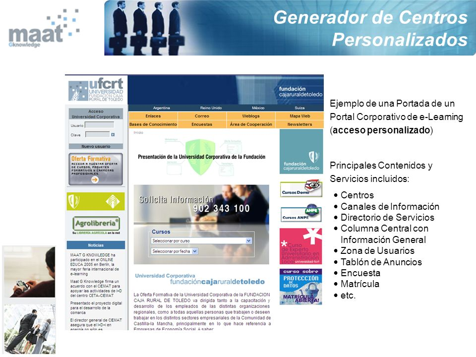 Ejemplo de una Portada de un Portal Corporativo de e-Learning (acceso personalizado) Principales Contenidos y Servicios incluidos: Centros Canales de