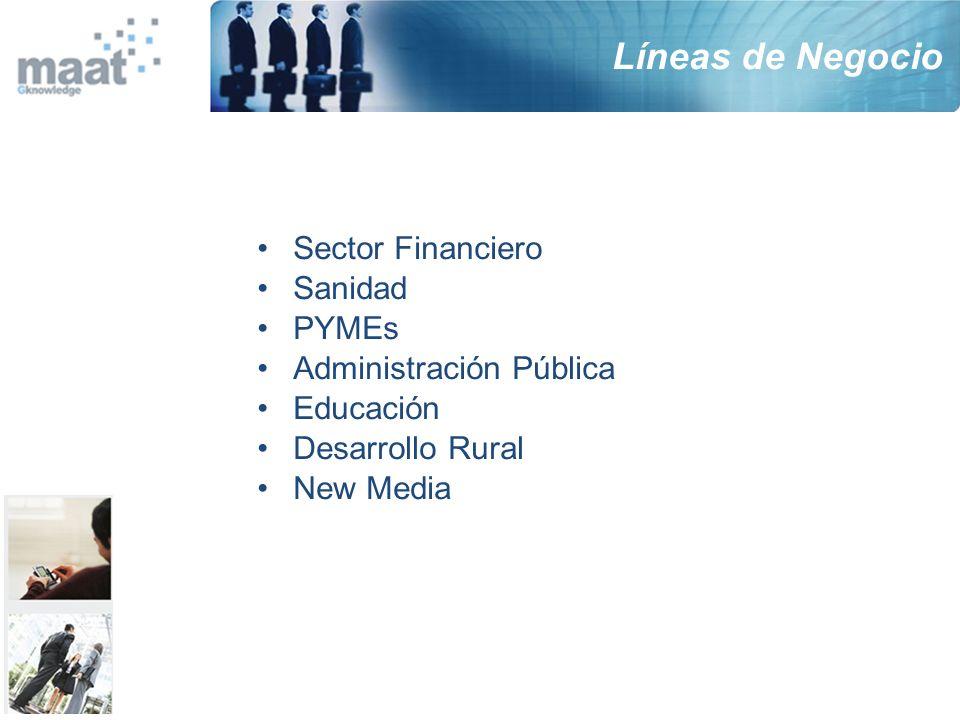 Líneas de Negocio Sector Financiero Sanidad PYMEs Administración Pública Educación Desarrollo Rural New Media
