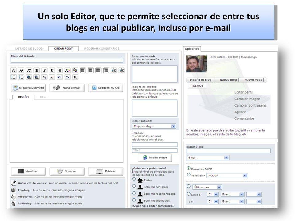 Un solo Editor, que te permite seleccionar de entre tus blogs en cual publicar, incluso por e-mail
