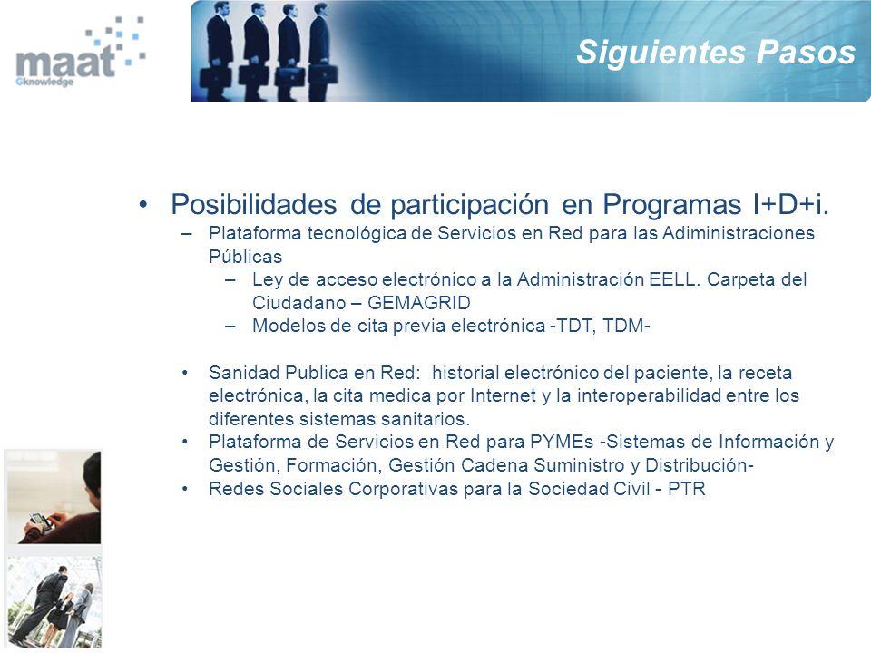 Posibilidades de participación en Programas I+D+i. –Plataforma tecnológica de Servicios en Red para las Adiministraciones Públicas –Ley de acceso elec