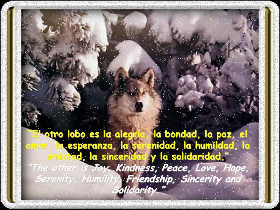 Uno de los lobos es la maldad, el temor, la ira, la envidia, el rencor, la avaricia, la arrogancia, la culpa, el resentimiento, la mentira y el egoísmo.