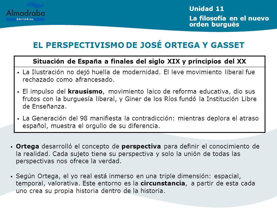 EL PERSPECTIVISMO DE JOSÉ ORTEGA Y GASSET Situación de España a finales del siglo XIX y principios del XX La Ilustración no dejó huella de modernidad.