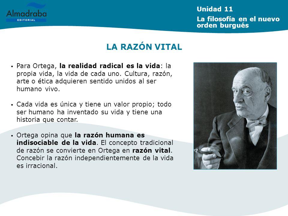 LA RAZÓN VITAL Unidad 11 La filosofía en el nuevo orden burgués Para Ortega, la realidad radical es la vida: la propia vida, la vida de cada uno. Cult