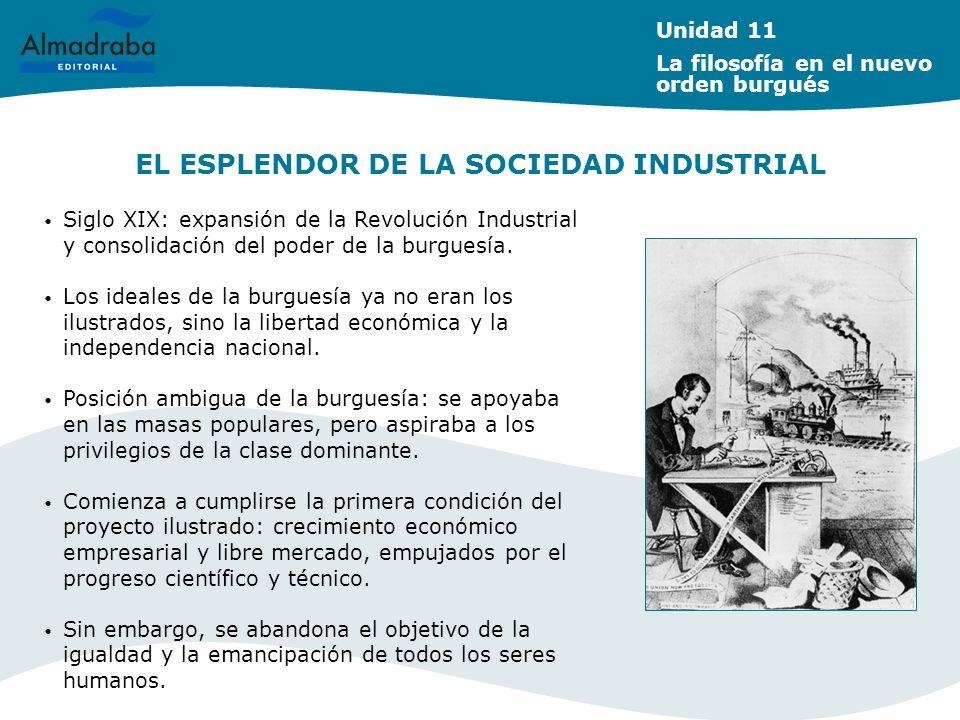 EL ESPLENDOR DE LA SOCIEDAD INDUSTRIAL Siglo XIX: expansión de la Revolución Industrial y consolidación del poder de la burguesía. Los ideales de la b