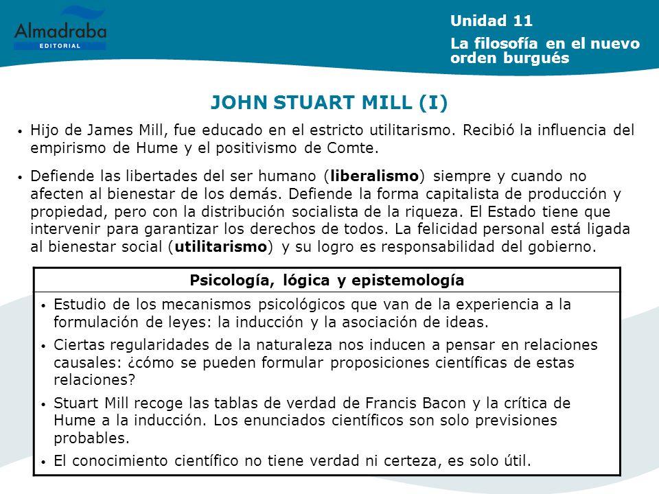JOHN STUART MILL (I) Psicología, lógica y epistemología Estudio de los mecanismos psicológicos que van de la experiencia a la formulación de leyes: la