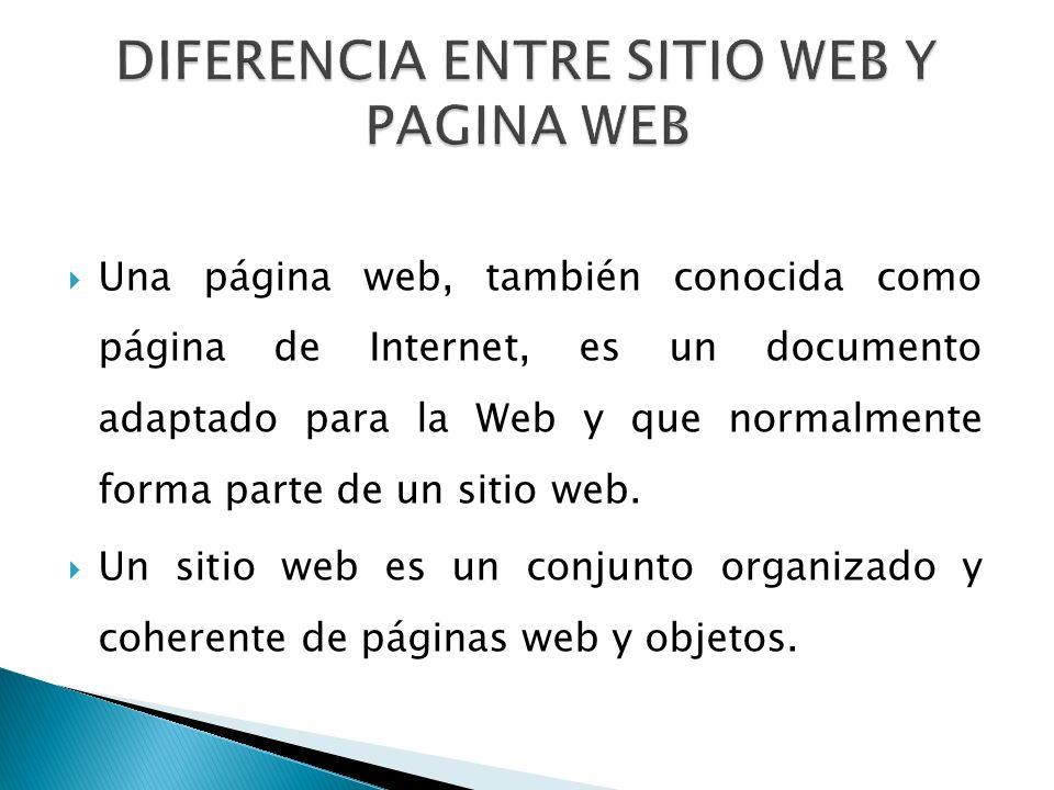 Una página web, también conocida como página de Internet, es un documento adaptado para la Web y que normalmente forma parte de un sitio web.