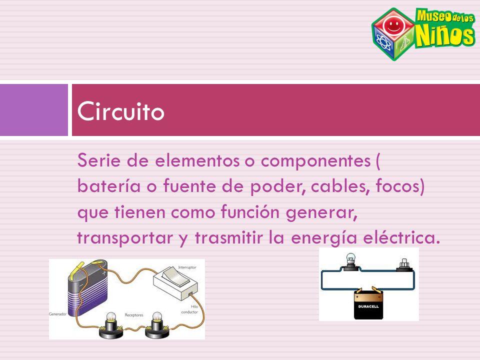 Serie de elementos o componentes ( batería o fuente de poder, cables, focos) que tienen como función generar, transportar y trasmitir la energía eléct