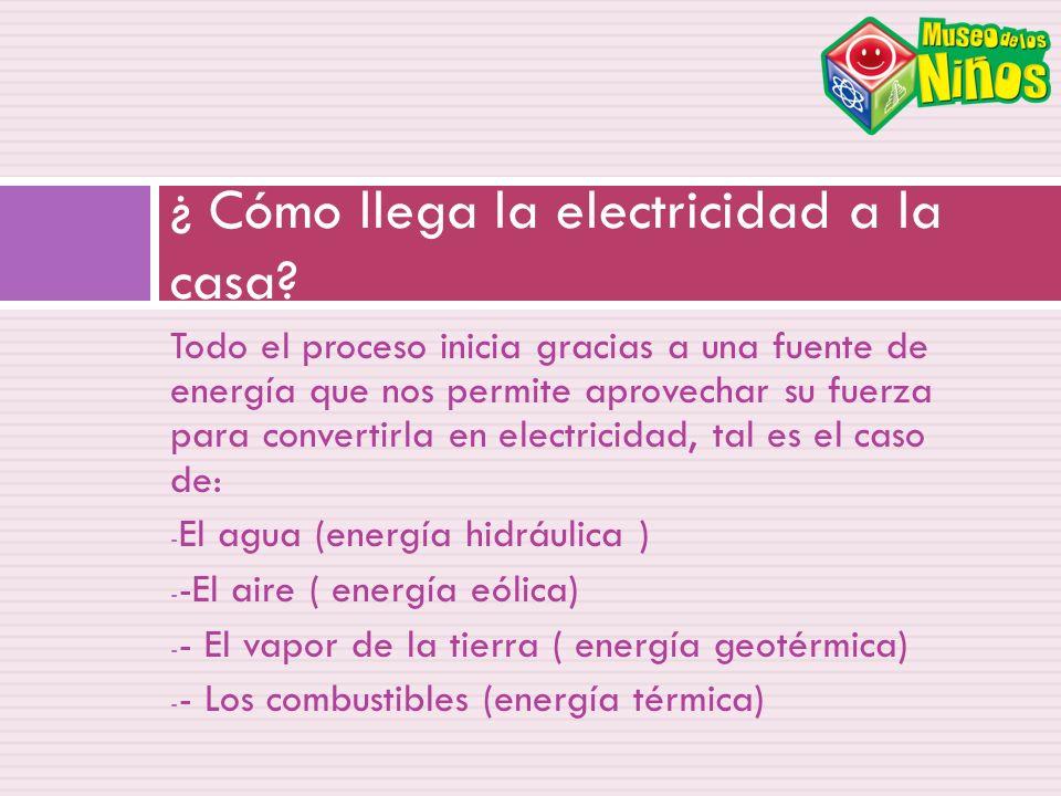 Todo el proceso inicia gracias a una fuente de energía que nos permite aprovechar su fuerza para convertirla en electricidad, tal es el caso de: - El