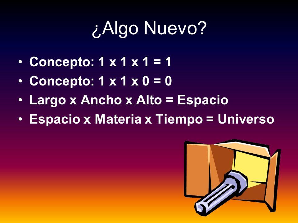 ¿Algo Nuevo? Concepto: 1 x 1 x 1 = 1 Concepto: 1 x 1 x 0 = 0 Largo x Ancho x Alto = Espacio Espacio x Materia x Tiempo = Universo