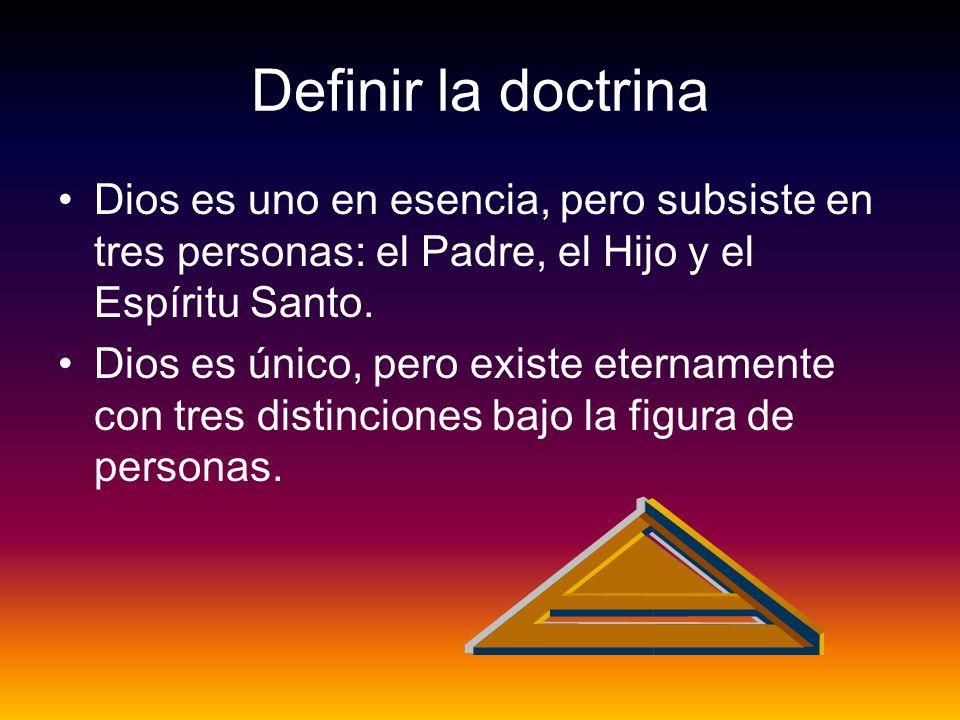 Definir la doctrina Dios es uno en esencia, pero subsiste en tres personas: el Padre, el Hijo y el Espíritu Santo. Dios es único, pero existe etername