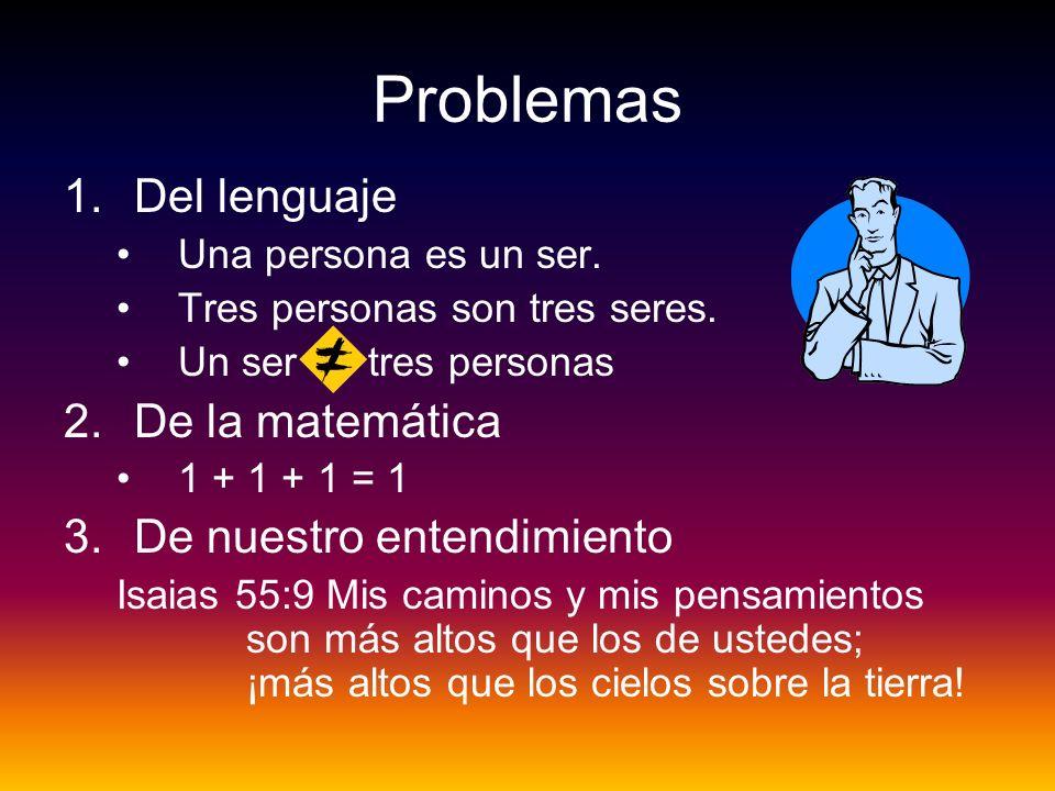 Problemas 1.Del lenguaje Una persona es un ser. Tres personas son tres seres. Un ser = tres personas 2.De la matemática 1 + 1 + 1 = 1 3.De nuestro ent